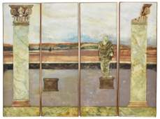 MARC DAVET (B1951) NEOCLASSICAL POLYPTYCH PAINTING
