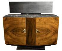FRENCH ART DECO MIRRORED MARBLE-TOP SIDEBOARD