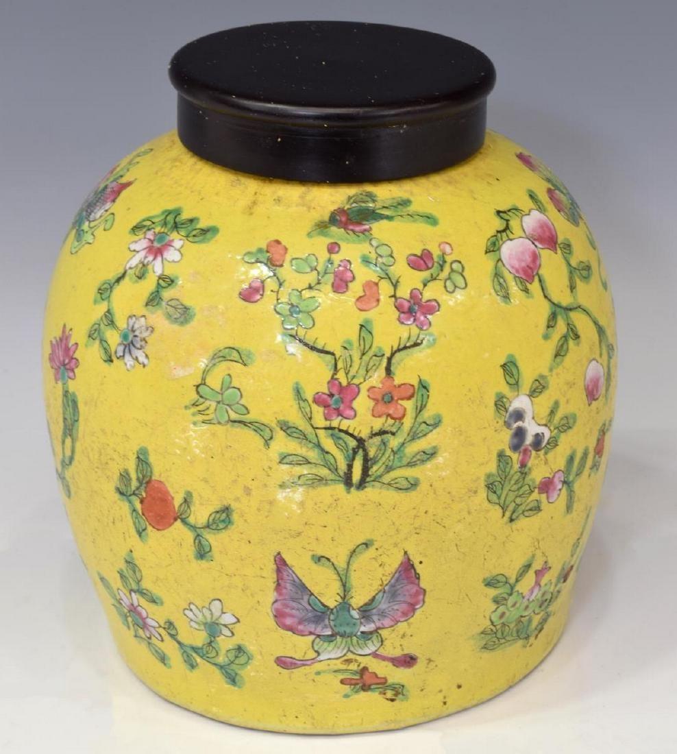 CHINESE YELLOW ENAMELED PORCELAIN COVERED JAR