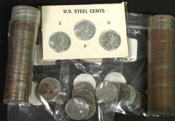 2: LARGE GROUPING OF 1943 STEEL PENNIES
