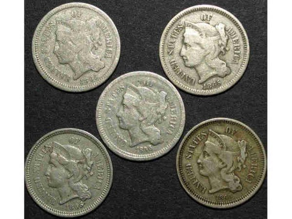 5: LOT OF FIVE NICKEL THREE-CENT PIECES
