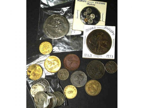 11: LOT OF MIXED TOKENS AND COINS BUFFALO NICKELS