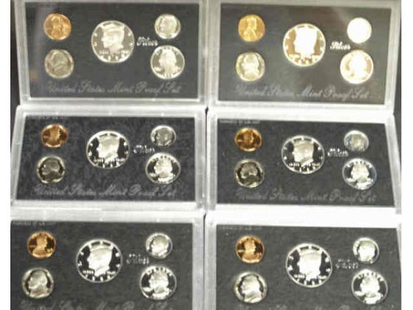 21: LOT OF 6 1994,1995,1996,1998 SILVER PROOF SETS