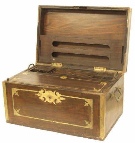 203: BRITISH COLONIAL BRASS BOUND ROSEWOOD TRAVEL BOX