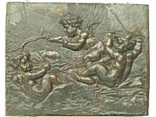 265 GERMAN CARVED WOOD LEATHER FIGURAL WALL PLAQUE