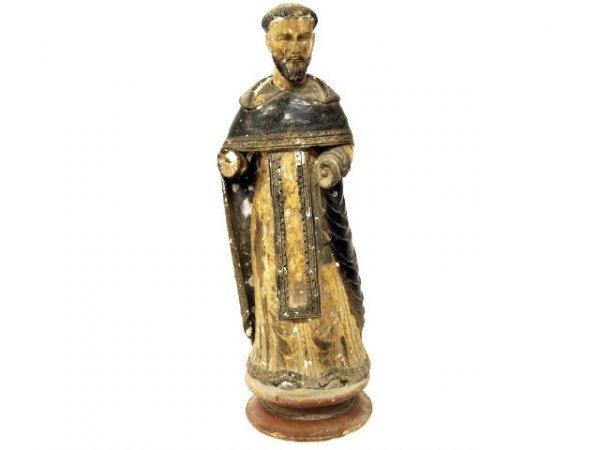 507: ANTIQUE RELIGIOUS COLONIAL STATUE SAINT IGNATIUS