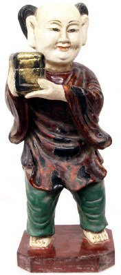 508: ANTIQUE RELIGIOUS CARVED WOOD GILDED FIGURE