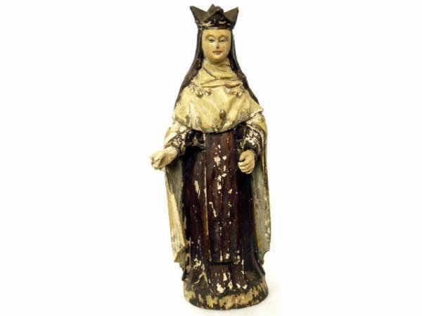 510:ANTIQUE RELIGIOUS FRENCH COLONIAL WOOD STATUE SAINT