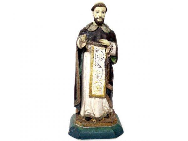 512: ANTIQUE RELIGIOUS  COLONIAL STATUE SAINT IGNATIUS