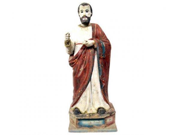515: ANTIQUE RELIGIOUS WOOD FIGURE OF A MALE SAINT
