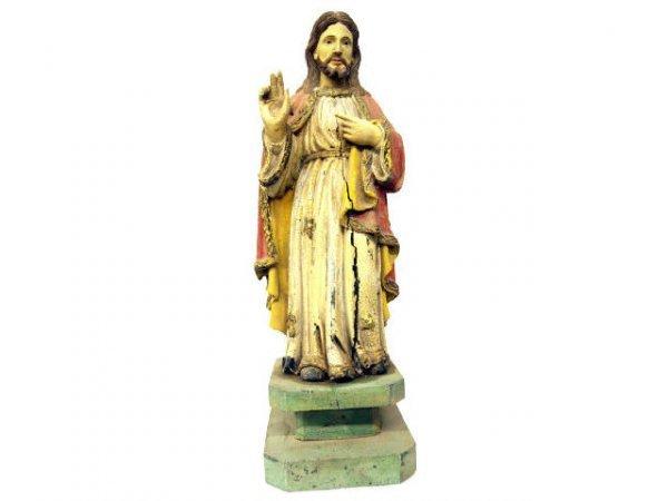 516: ANTIQUE RELIGIOUS FIGURE JESUS CHRIST SACRED HEART