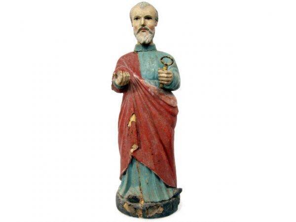 517: ANTIQUE RELIGIOUS COLONIAL WOOD FIGURE SAINT PETER