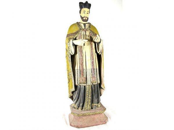 519: ANTIQUE RELIGIOUS  WOOD FIGURE SAINT IGNATIUS