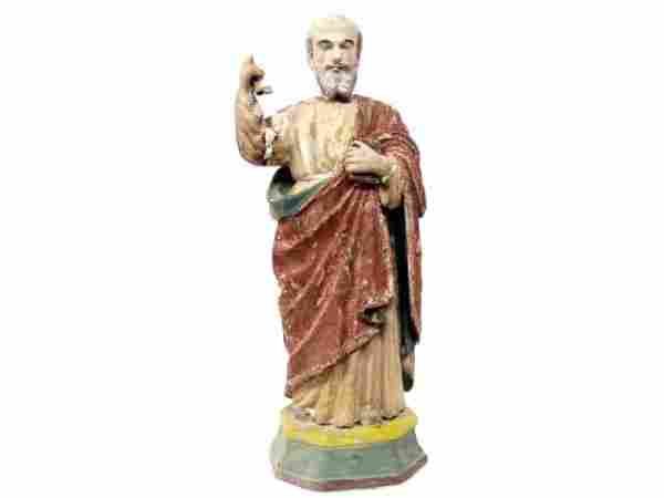 ANTIQUE RELIGIOUS PRIMITIVE STATUE SAINT PETER