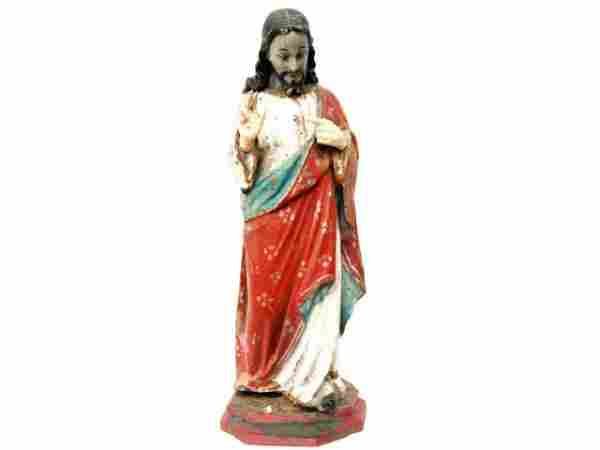 ANTIQUE RELIGIOUS CARVED WOOD STATUE SACRED HEART