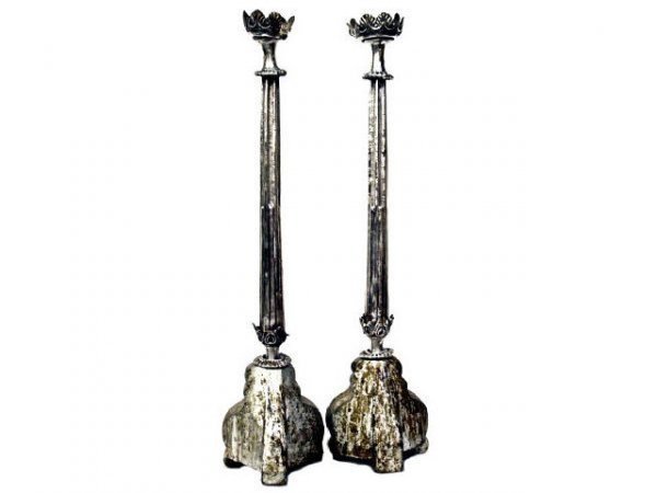 660: 18TH C COLONIAL RELIGIOUS SILVER CANDLESTICKS