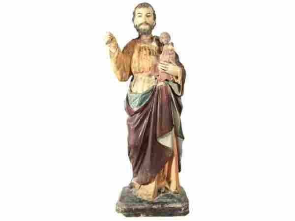 ANTIQUE RELIGIOUS STATUE SAINT JOSEPH CHRIST CHILD