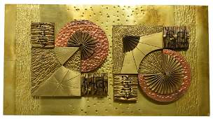 MIXED METAL COPPER BRASS GEOMETRIC WALL SCULPTURE