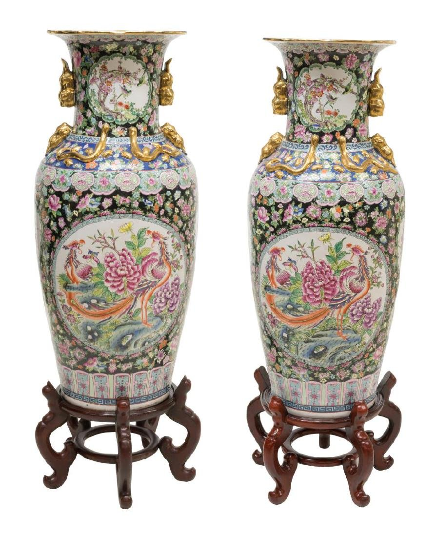 (2) CHINESE FAMILLE ROSE PORCELAIN VASES W/ STANDS