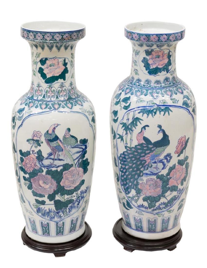 (2) LARGE CHINESE FAMILLE ROSE PORCELAIN VASES