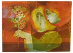ALVAR SUNOL (B.1935) LITHOGRAPH WOMEN & FLOWERS