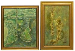 2) MID-CENTURY ABSTRACT PAINTINGS SIGNED R. WEAVER
