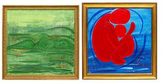 (2) ABSTRACT FIGURAL PAINTINGS SIGNED SHE