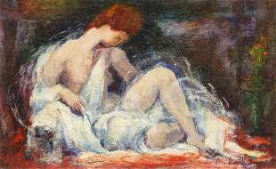 LOU BANKOFF 20TH C FEMALE NUDE OIL PAINTING