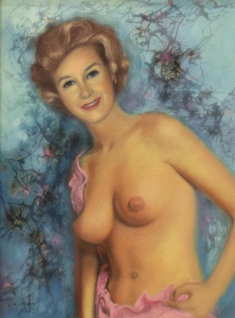 C.K. CHIEN (TAIWAN, 20th c.) FEMALE NUDE PORTRAIT