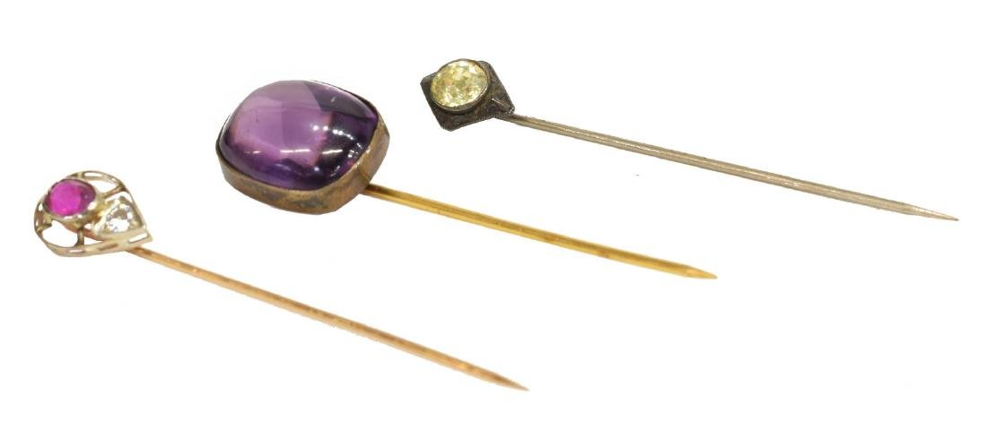 3) ESTATE NATURAL RUBY, DIAMOND & OTHER STICK PINS
