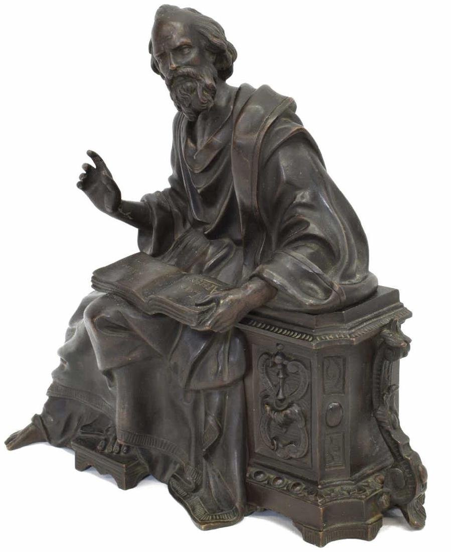 PATINATED BRONZE 'LOIS D'ATHENES' CLOCK TOPPER