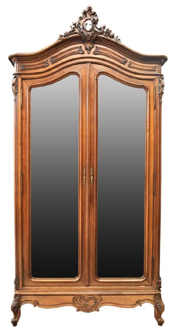 FRENCH LOUIS XV STYLE MIRRORED WALNUT ARMOIRE