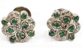 WHITE METAL DIAMOND  EMERALD EARRINGS GOLD POSTS
