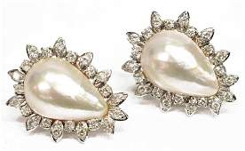 LADIES WHITE METAL MABE PEARL & DIAMOND EARRINGS