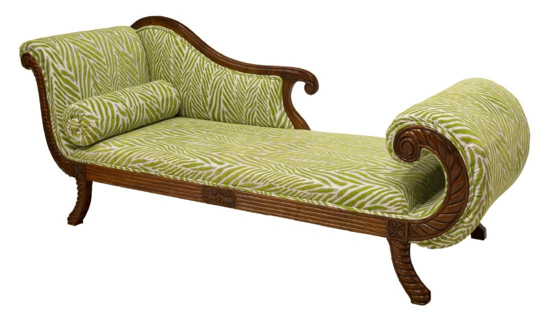 CONTEMPORARY INDONESIAN MAHOGANY CHAISE LOUNGE
