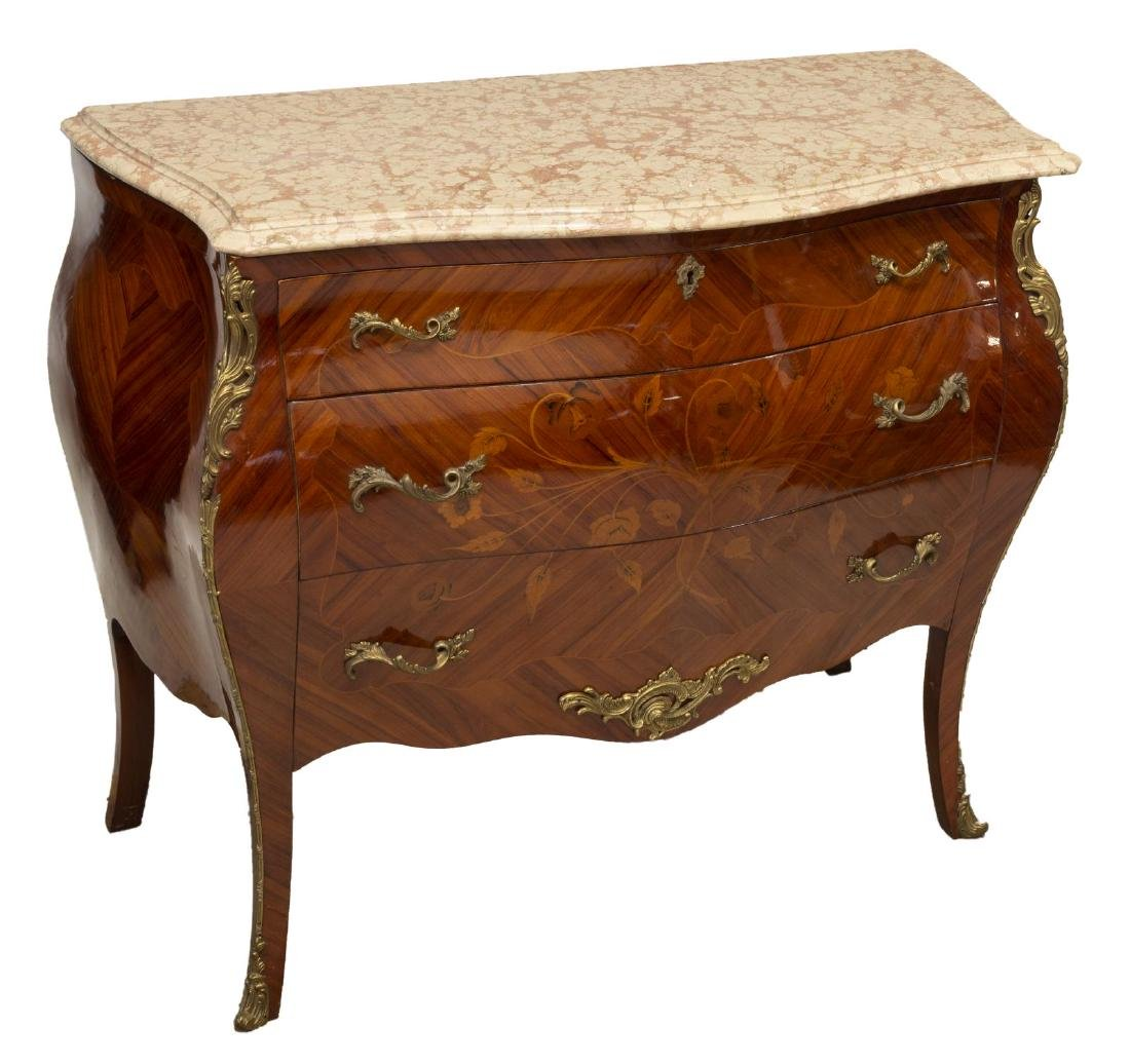 FRENCH LOUIS XV STYLE MARBLE-TOP COMMODE