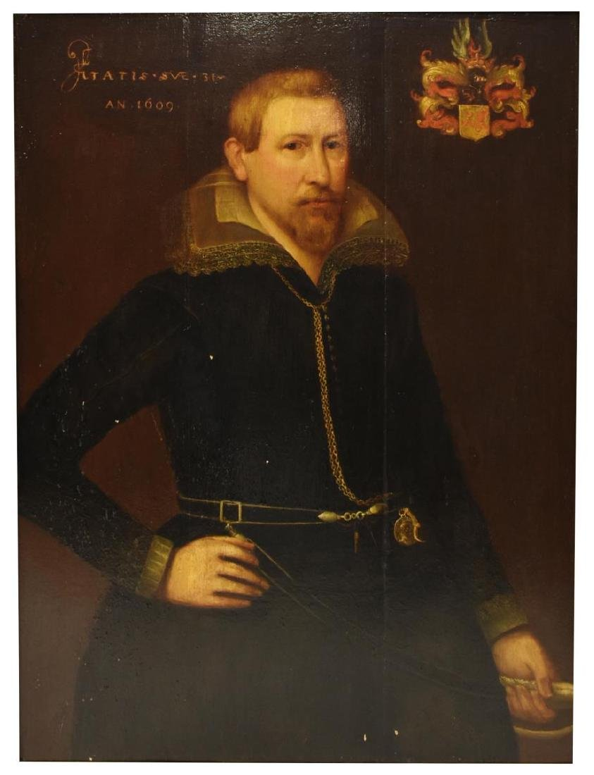 ENGLISH SCHOOL NOBLEMAN PORTRAIT PAINTING ON PANEL