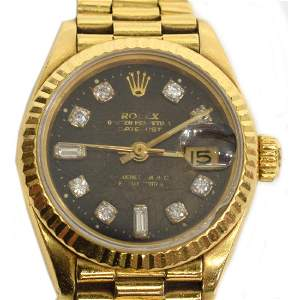 LADIES 18K ROLEX OYSTER PERPETUAL DATEJUST WATCH