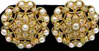 18KT YELLOW GOLD DIAMOND  PEARL OPENWORK EARRINGS