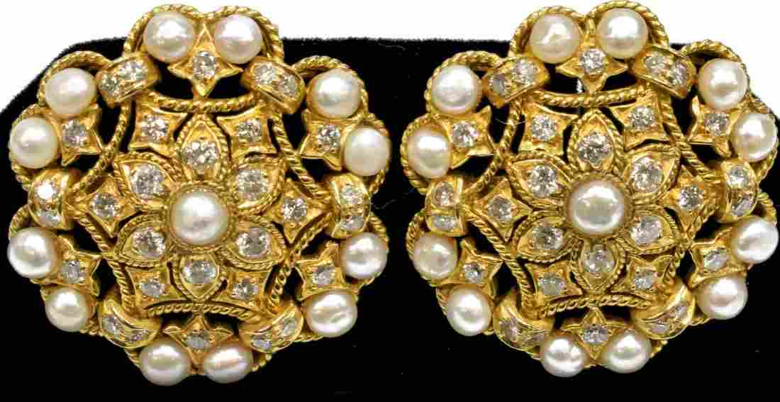 18KT YELLOW GOLD DIAMOND & PEARL OPENWORK EARRINGS