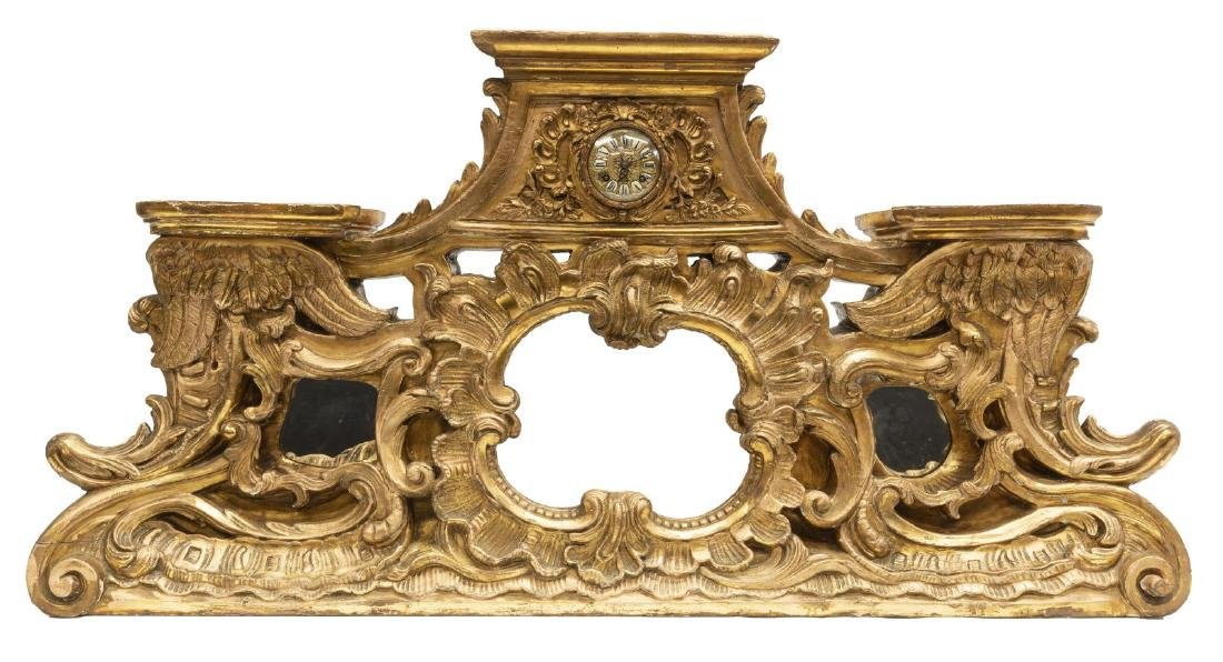 "LARGE FRENCH ROCAILLE GILT CASED CLOCK, 49""L"