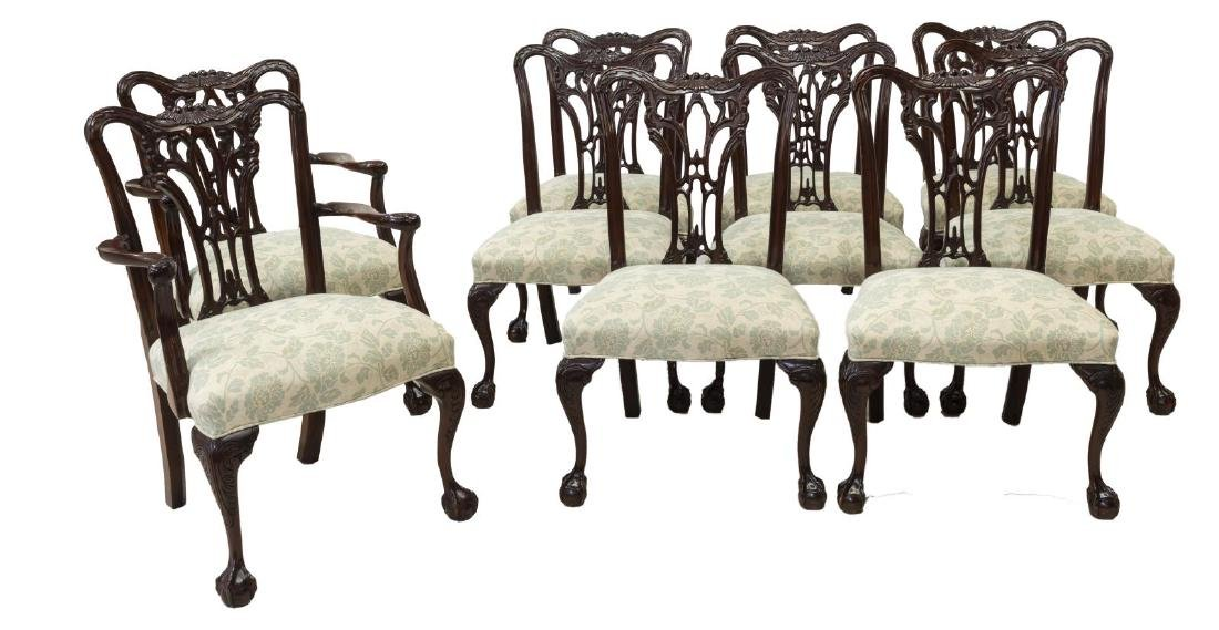 (10) CHIPPENDALE STYLE MAHOGANY DINING CHAIR SET