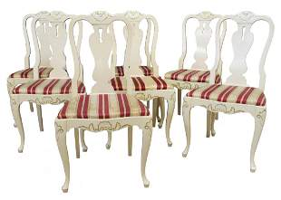 7 CONTINENTAL WHITE PAINTED DINING CHAIRS