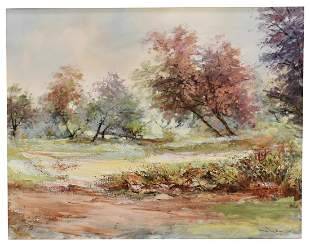 SPRING LANDSCAPE OIL ON CANVAS PAINTING SIGNED