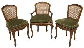(3) LOUIS XV STYLE WALNUT CANED ARM & SIDE CHAIRS