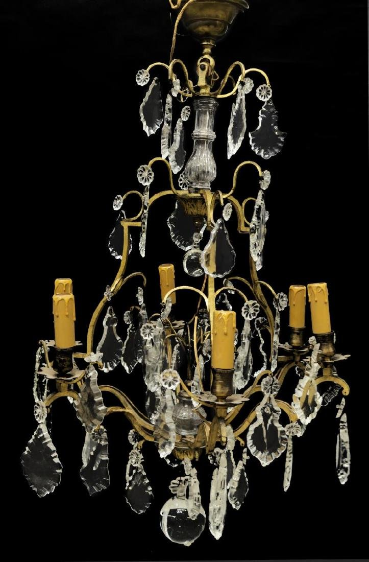 FRENCH CRYSTAL SIX-LIGHT CHANDELIER
