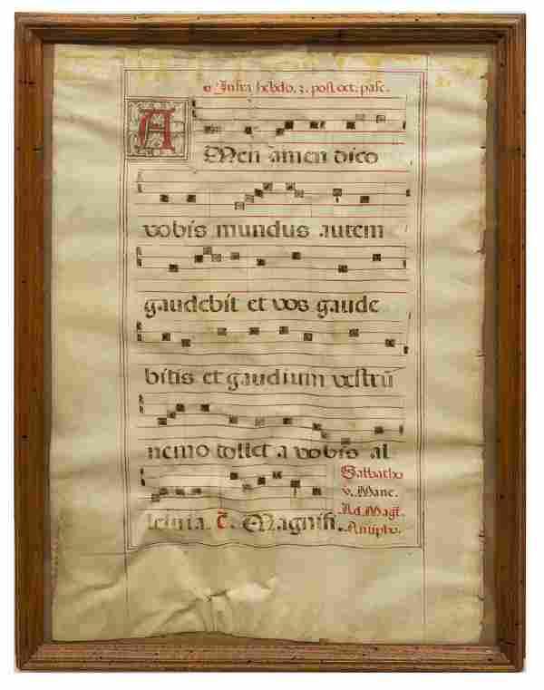 ANTIPHONAL GREGORIAN CHANT SHEET MUSIC MANUSCRIPT