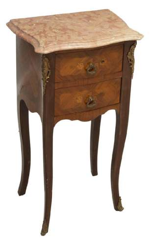 FRENCH LOUIS XV STYLE MARBLETOP BEDSIDE CABINET