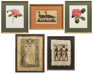 5 ASSORTMENT OF FRAMED ART PRINTS ON PAPER