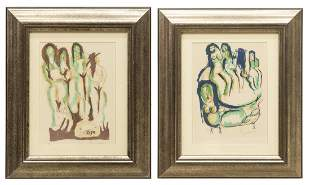 2 FEMALE NUDE LITHOGRAPHS SIGNED PINKETT